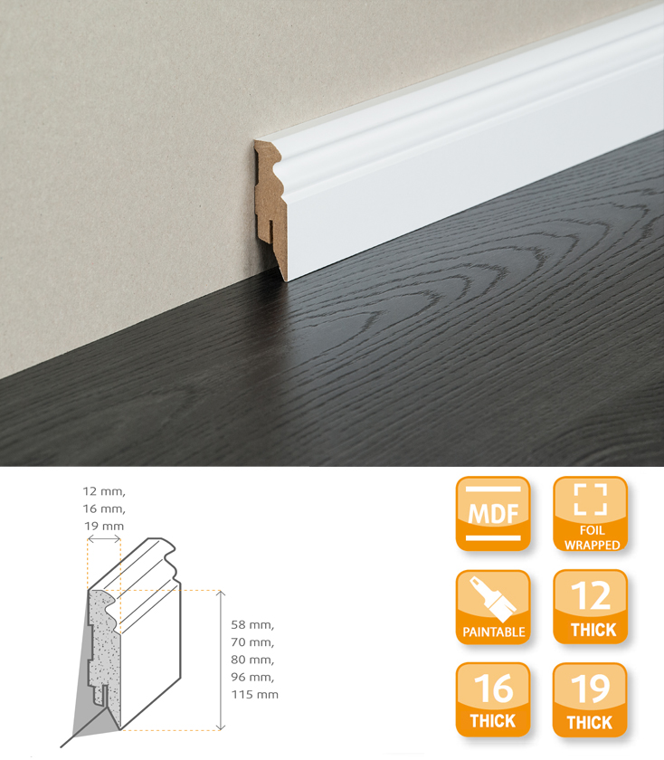 Hamburg MDF Primed Foil Skirting
