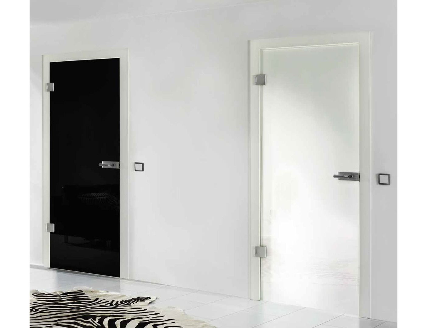 Black laminate glass door
