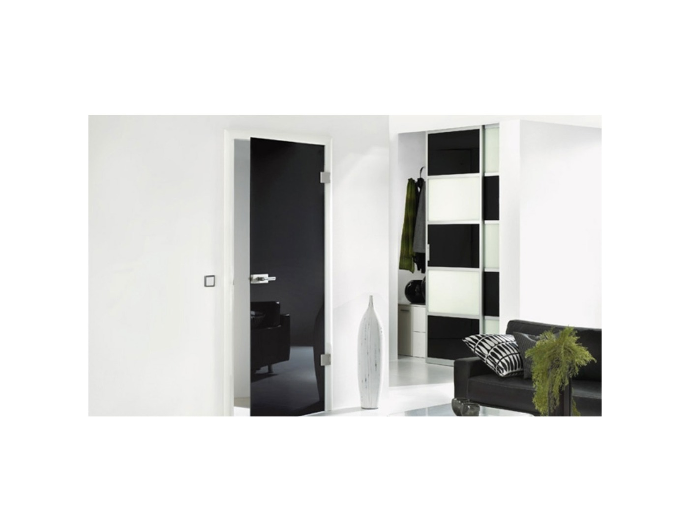 Black Laminate Glass Doors - Bespoke Black Glass Doors With Mirror Effect