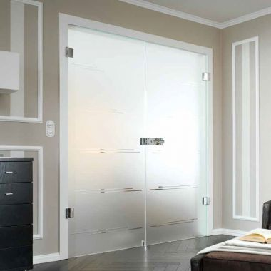 Castello Grooved Glass Door Design - Double Glass Doors