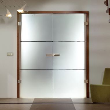 Fenea Grooved Glass Door Design - Frosted Glass Design Patterns