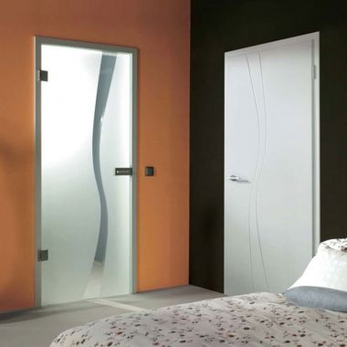 Wave type 1 Grooved Glass Door Design - Frosted Glass Door