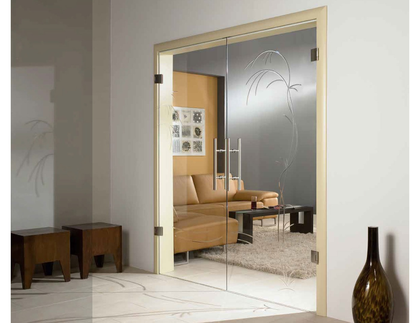 internal glass double doors