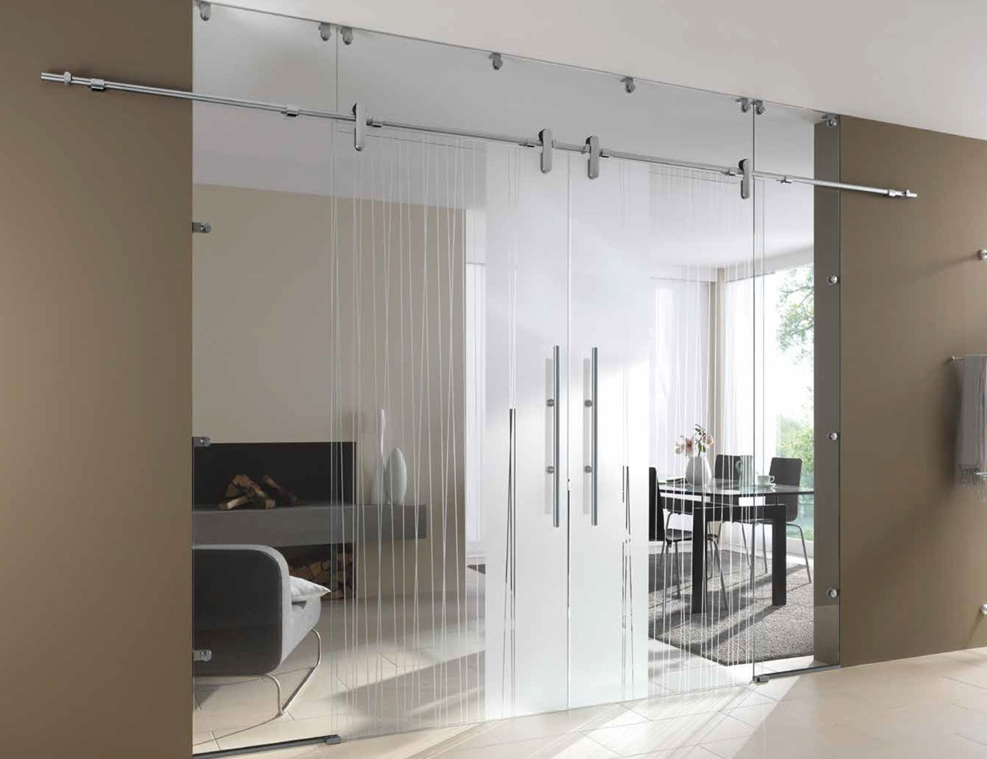 Glass sliding doors glass partition wall internal for Sliding door partition wall