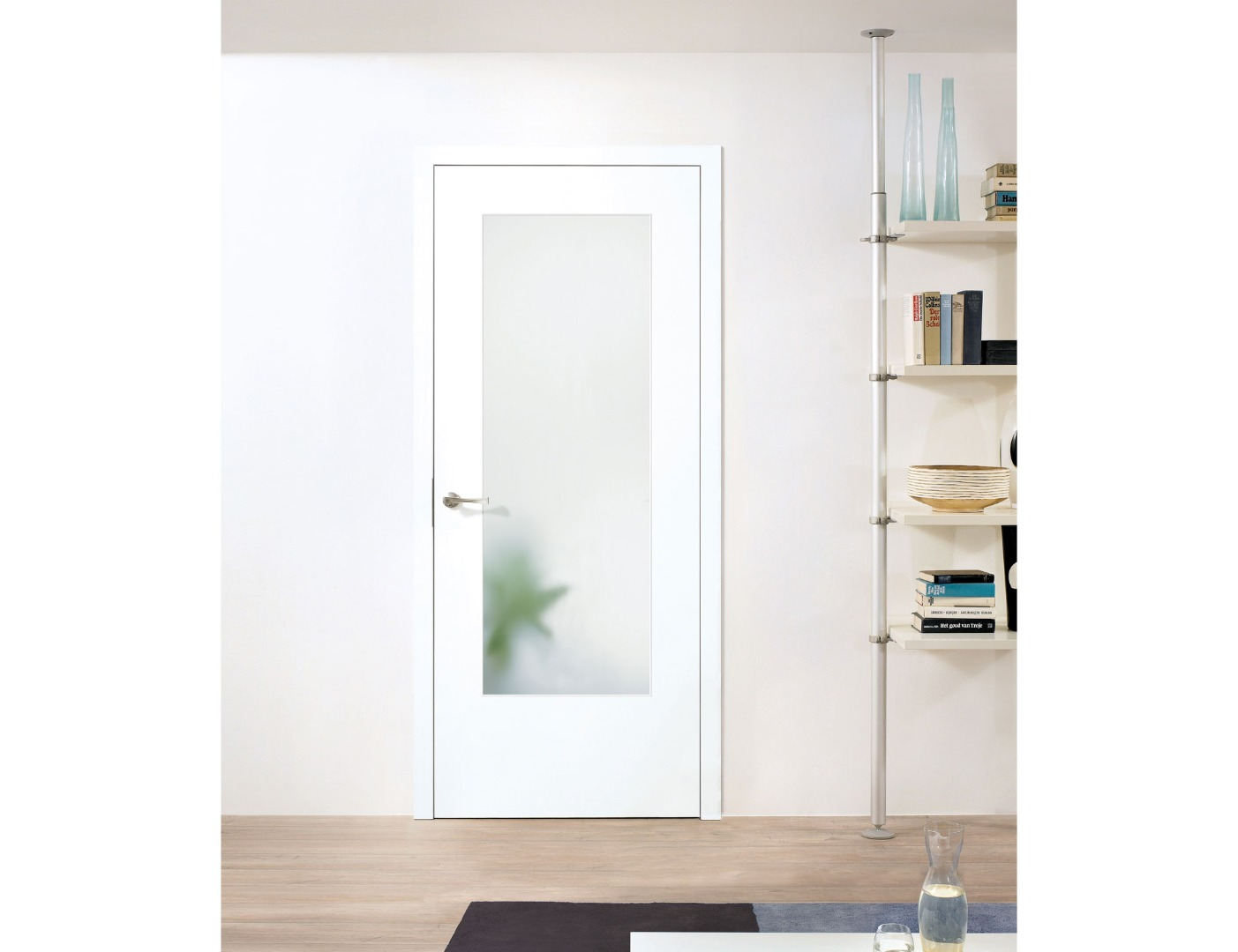 white door with aluminium frame