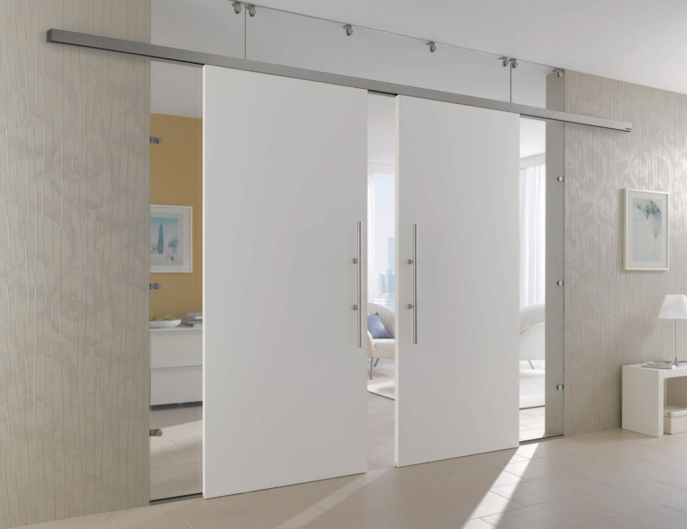 White Painted Doors - White Sliding Internal French White Doors - Glass Panels & White Internal Doors | Bespoke Sliding Doors | Internal Glazed Doors